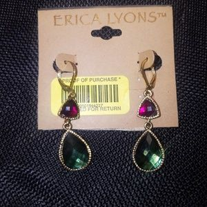 NWT Erica Lyons Emerald Drop Pierced Earrings